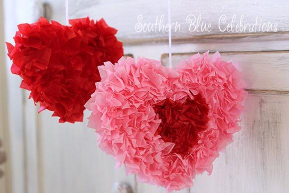 tissue paper valentine hearts