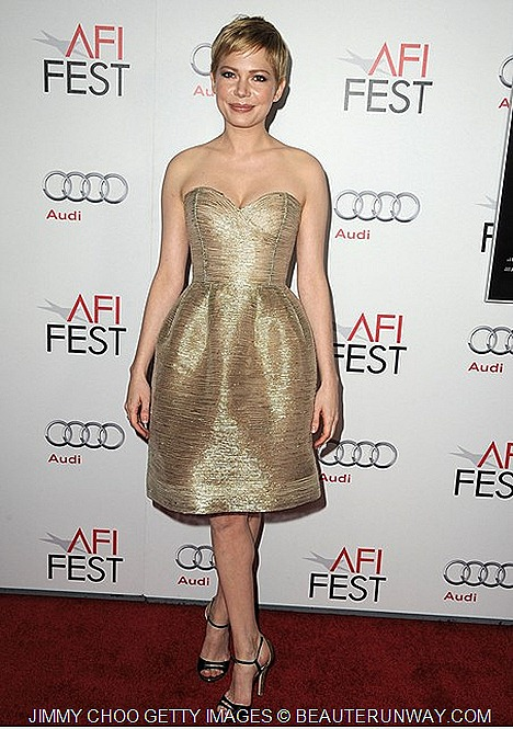 MICHELLE WILLIAMS WORE JIMMY CHOO TEMA SHOES  MY WEEK WITH MARILYN PREMIERE LA