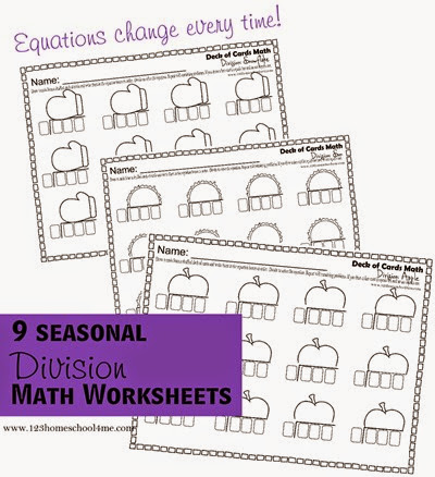 Math worksheets - FUN division practice for 3rd and 4th grade kids with 9 different seasonal division worksheets to use with a deck of playing cards