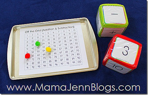 Off the Grid: Printable Addition & Subtraction Math Game