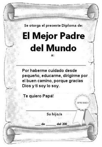 Diploma para el papá