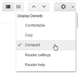 Google Reader density settings