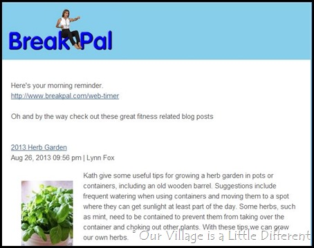 Break Pal Morning Email