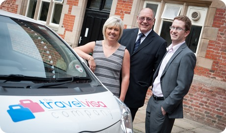 The Travel Visa Company co-founders Karen Taylor and Ray Ward with Zeus PR account manager Simon Halewood, right