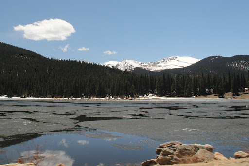 Lake 'slushy' at 10,600 feet up in the Rocky Mountains