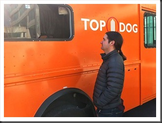 Matt Courtney ordering from the Top Dog Truck