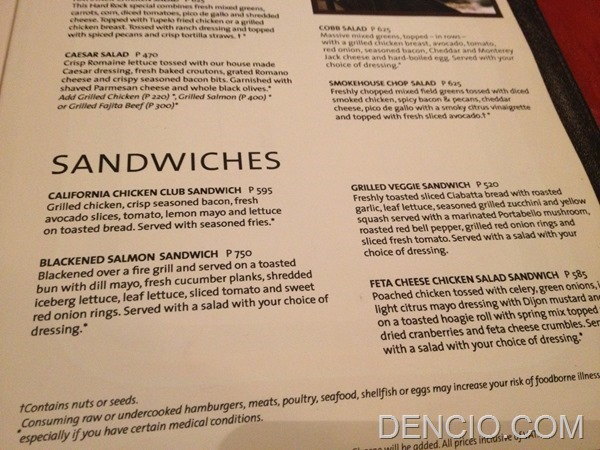 Hard Rock Cafe Makati Menu Prices 16