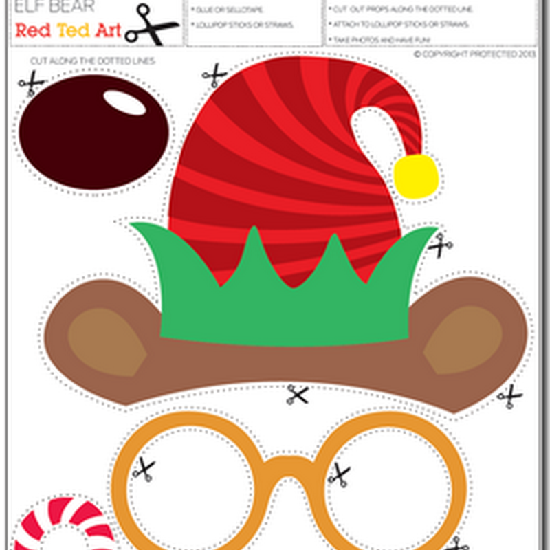 gafas y gorros de Navidad para imprimir