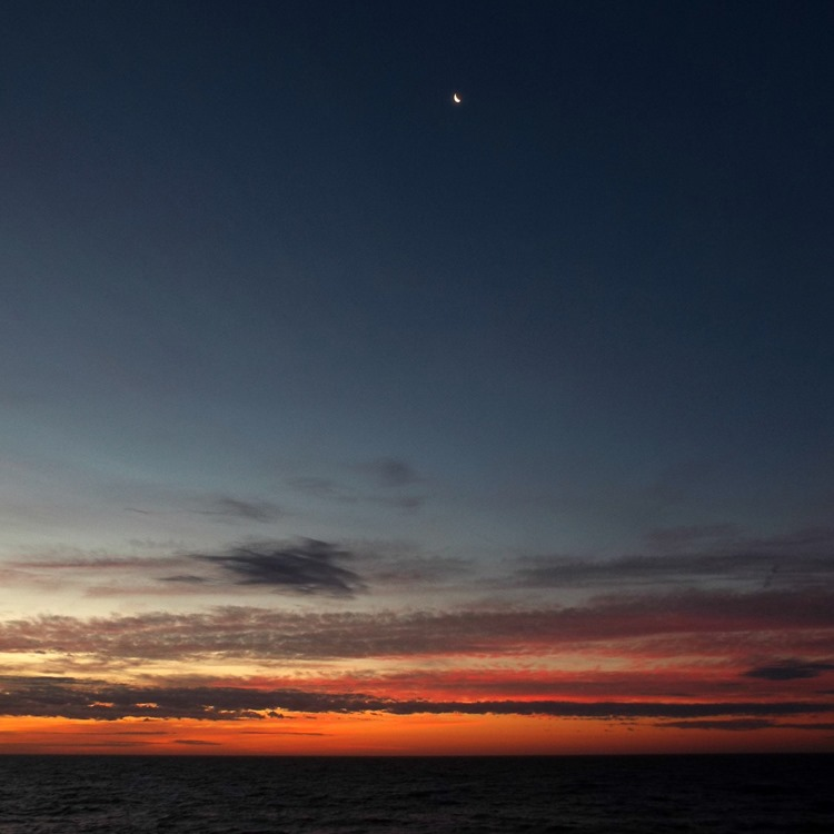 sunrise and moon
