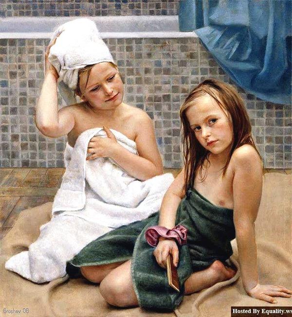 Teen girl in shower, interracial teen couple
