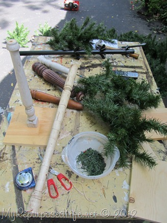 Repurposed Christmas Tree & spindles
