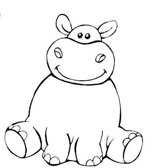 Hipopotamos Divertidos Dibujos Para Colorear