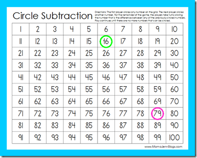 Circle Subtraction: FREE Printable Math Game