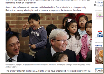 All smiles as five-year-old photobomber upstages PM Kevin Rudd