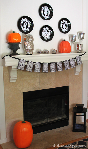 Silver and black mantel
