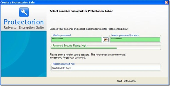 Protectorion ToGo settare password