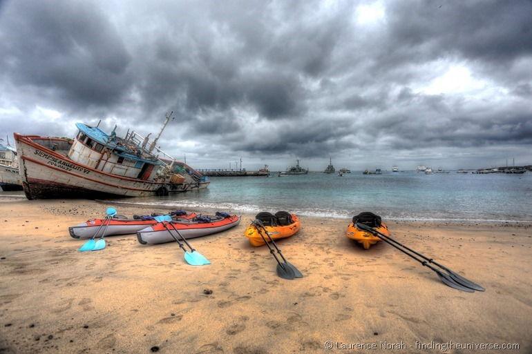 Kayaks on beach san cristobal Galapagos