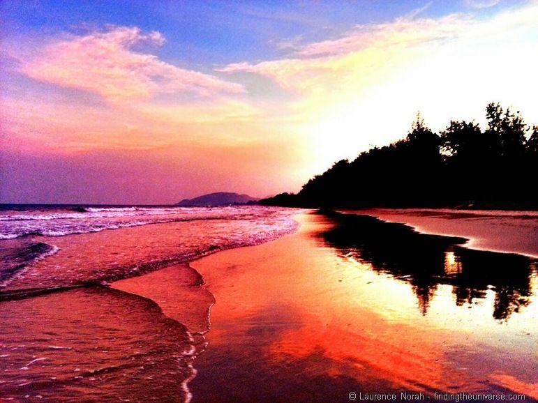 Sunset Hua Hin beach Thailand phone
