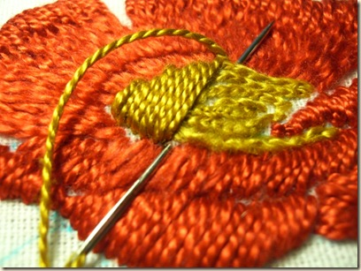 close-up of padded Satin Stitch