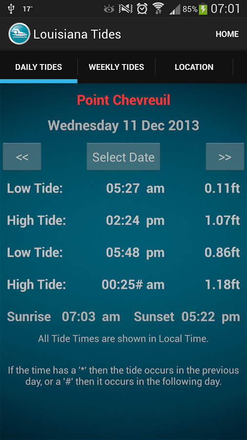 Louisiana Tide Times - screenshot