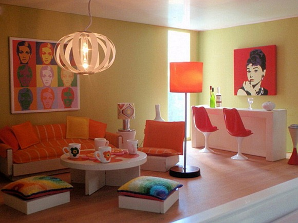 Moderno Living de color naranja