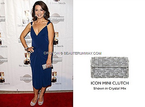 Ming-Na Wen Spring Summer 2013 collection Oroton Icon Mini Clutch in Crystal Mix leather bag,  clutch, wallets, accessories  modern Australian luxury lifestyle brand 40th Annual Annie Awards Royce Hall California Marina Bay Sands