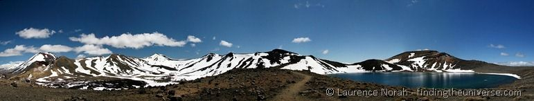 Blue Lake, Mount Ngauruhoe and Mount Tongariro Panoramic
