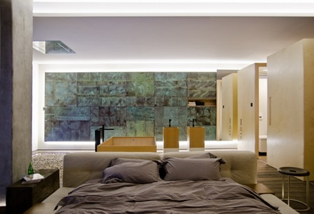 Habitacion-moderna-iluminacion-Departamento-loft