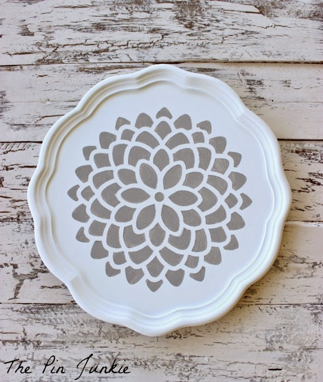stencil painted tray