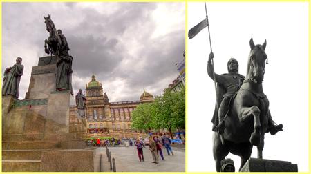 Estatua de san Wenceslao en Praga con el Museo Nacional al fondo