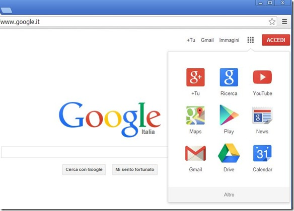 Home Page Google su Chrome 30