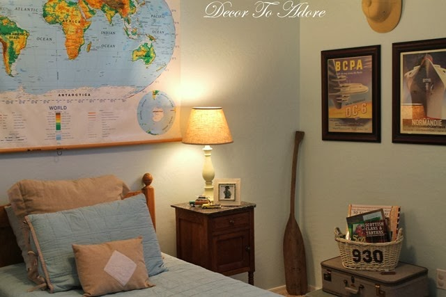Travel Inspired Guest Room: Decor To Adore: An Extra Antique Headboard & What To Do