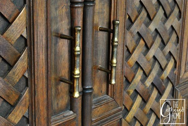 carved teak bar brass bamboo handles