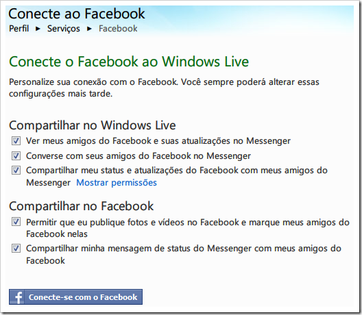 Configurações do Facebook no Windows Live