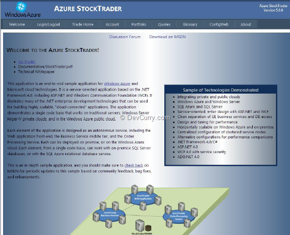 DevCurry: Windows Azure Sample Project -  NET Stock Trader 5