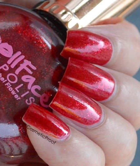 doll face brand nail polish swatch in kissy red