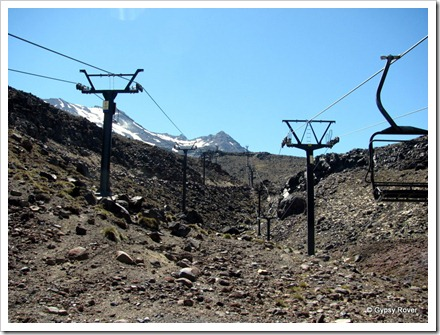 Turoa Ski field's Movenpick chair lift on Mt Ruapehu rising 307m on the left, Parklane on the right.