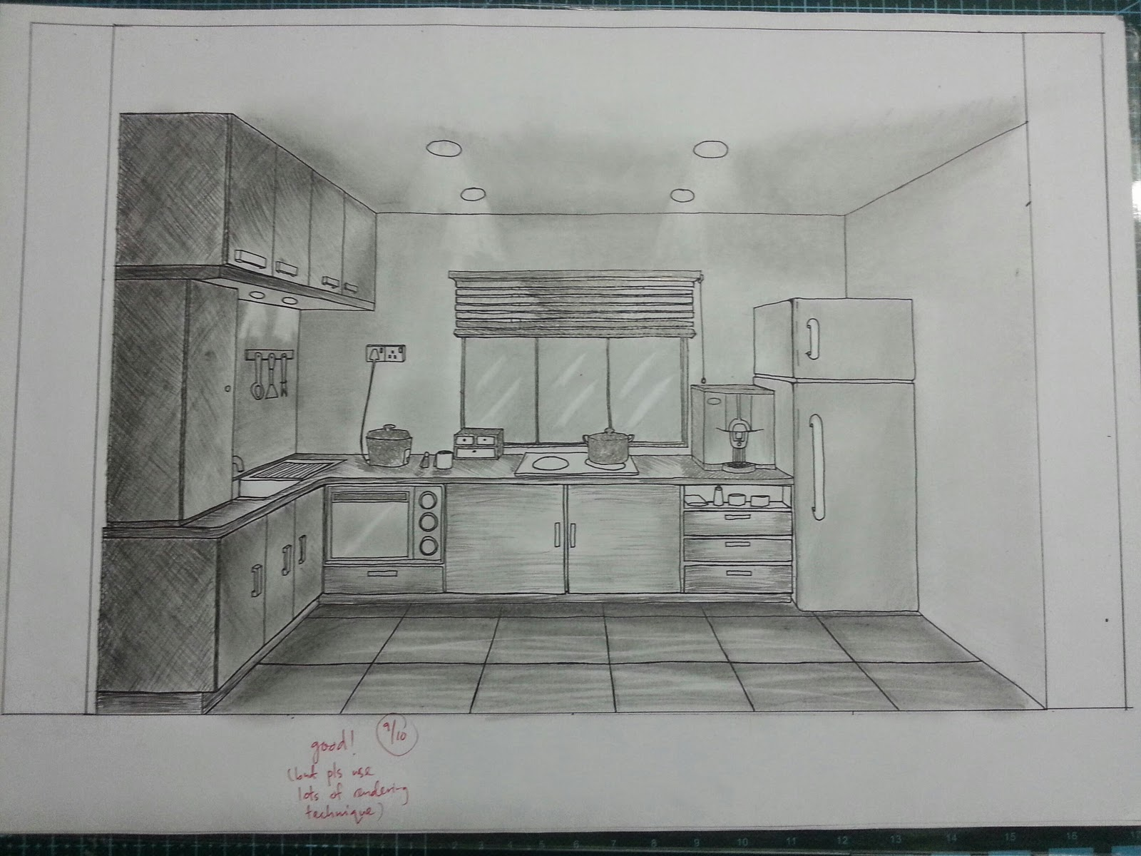One point perspective kitchen