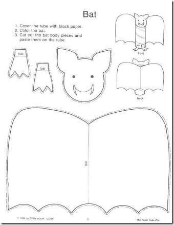 Moldes para crea un murciélago con un tubo de higiénico