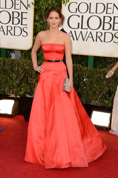 Jennifer Lawrence arrives at the 70th Annual Golden Globe Awards