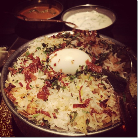 mutton biryani at golconda bowl