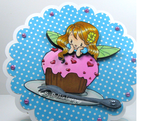 Milk N Coffee - Fiona and her cupcake -circle easel card - Ruthie Lopez 3