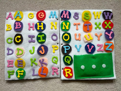 ABC & spelling quiet book page from And Next Comes L