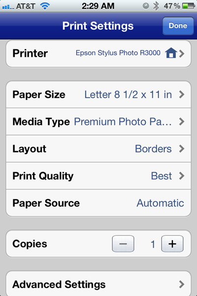 Epson iPrint Print Settings