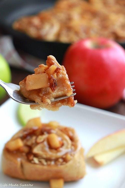 Apple Pecan Cinnamon Rolls with Salted Caramel Glaze - Life Made Sweeter.jpg