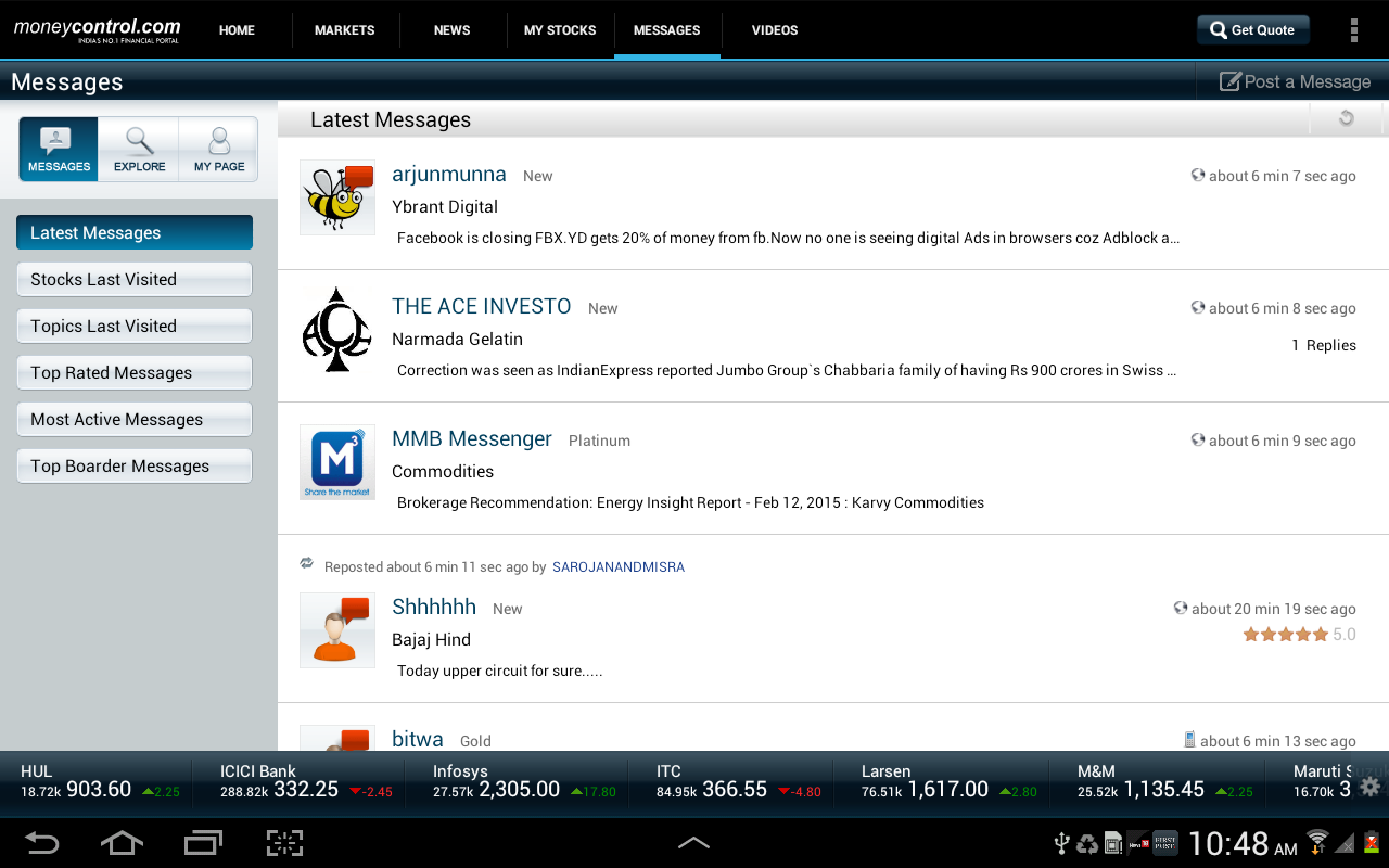 moneycontrol for Tablet - screenshot