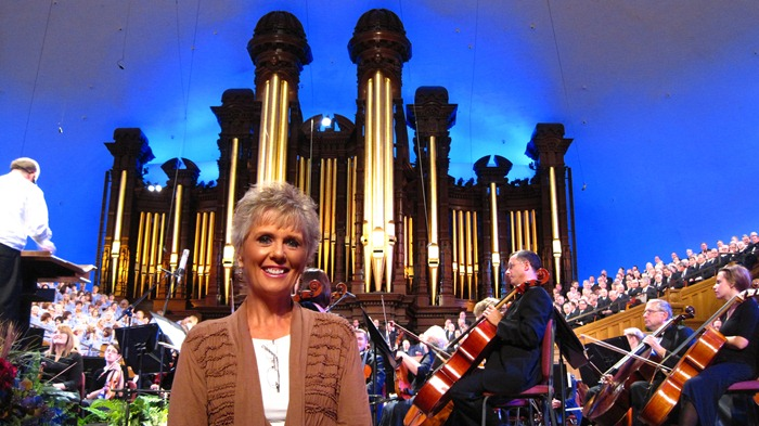 Mom at Music and the Spoken Word at the Tabernacle on Temple Square