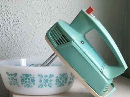 vintage mixer and pyrex