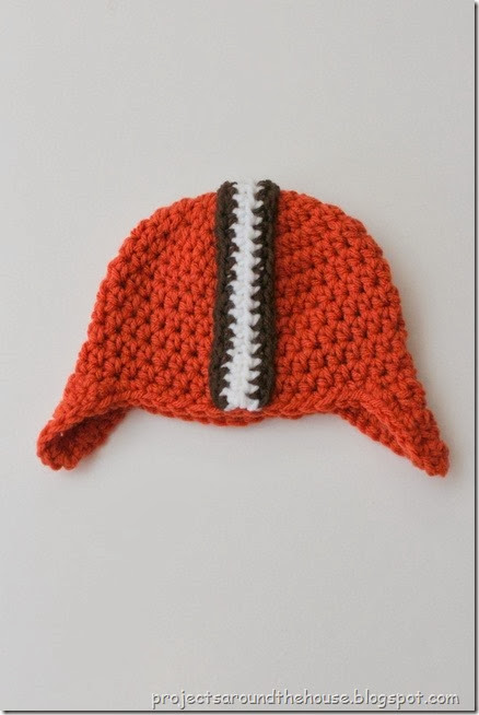 Crochet Footbal Helmet Hat Pattern 0-3 Month