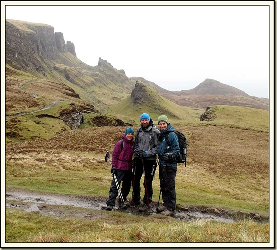 Jutta, Robert and Wolfgang with The Quiraing behind them